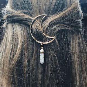 Moon and star hair clip